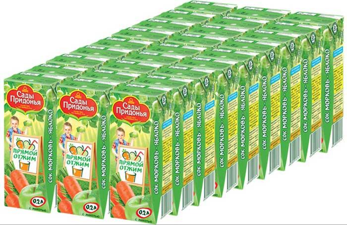 Сады Придонья Сок морковно-яблочный прямого отжима с мякотью 5 месяцев, 27 шт по 0,2 л