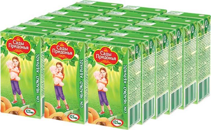 Сады Придонья Сок яблочно-абрикосовый с мякотью восстановленный c 5 месяцев, 18 шт по 0,125 л сок яблочно виноградный осветленный восстановленный с 6 месяцев сады придонья 18 шт по 0 125 л