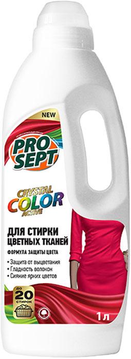 Жидкое средство для стирки цветных тканей Prosept Crystal, концентрат, 1 л жидкое моющее средство для стирки flat automat с ароматом свежести 1 кг
