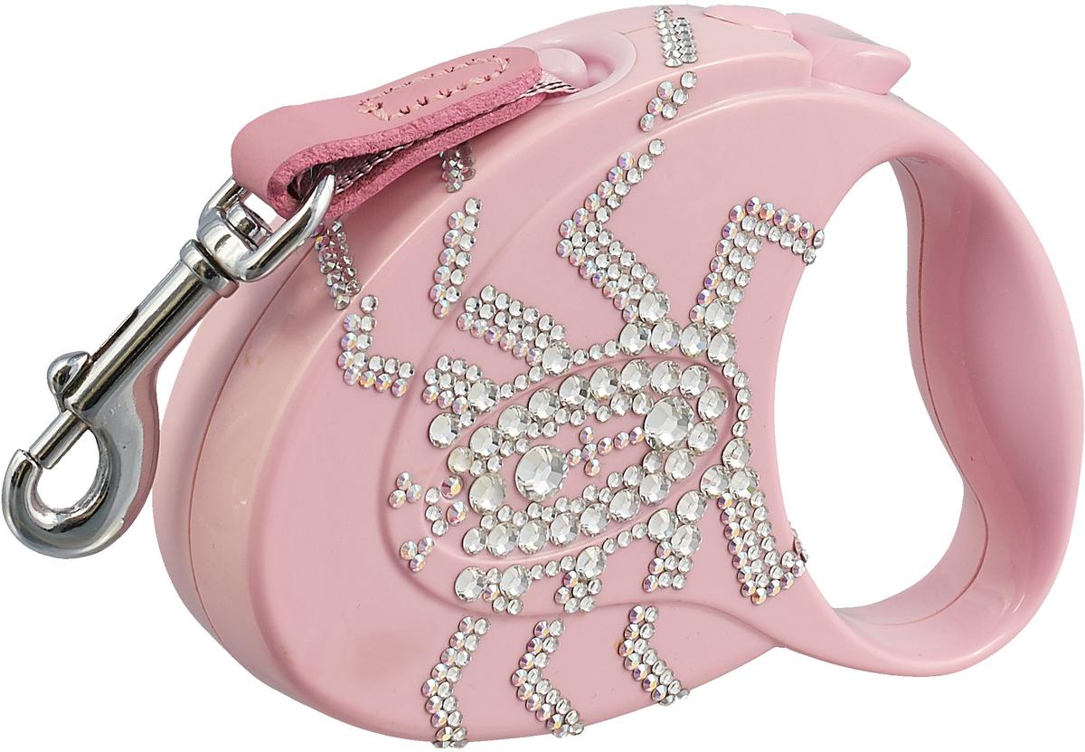 """Поводок-рулетка Flexi """"Glam Spider"""", для собак до 12 кг, цвет: розовый, 3 м"""