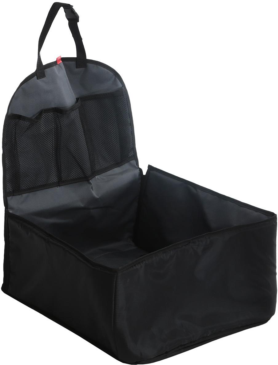 Автогамак на переднее сиденье Auto Premium, для перевозки некрупных животных, цвет: серый. 77113 автогамак auto premium для перевозки некрупных собак