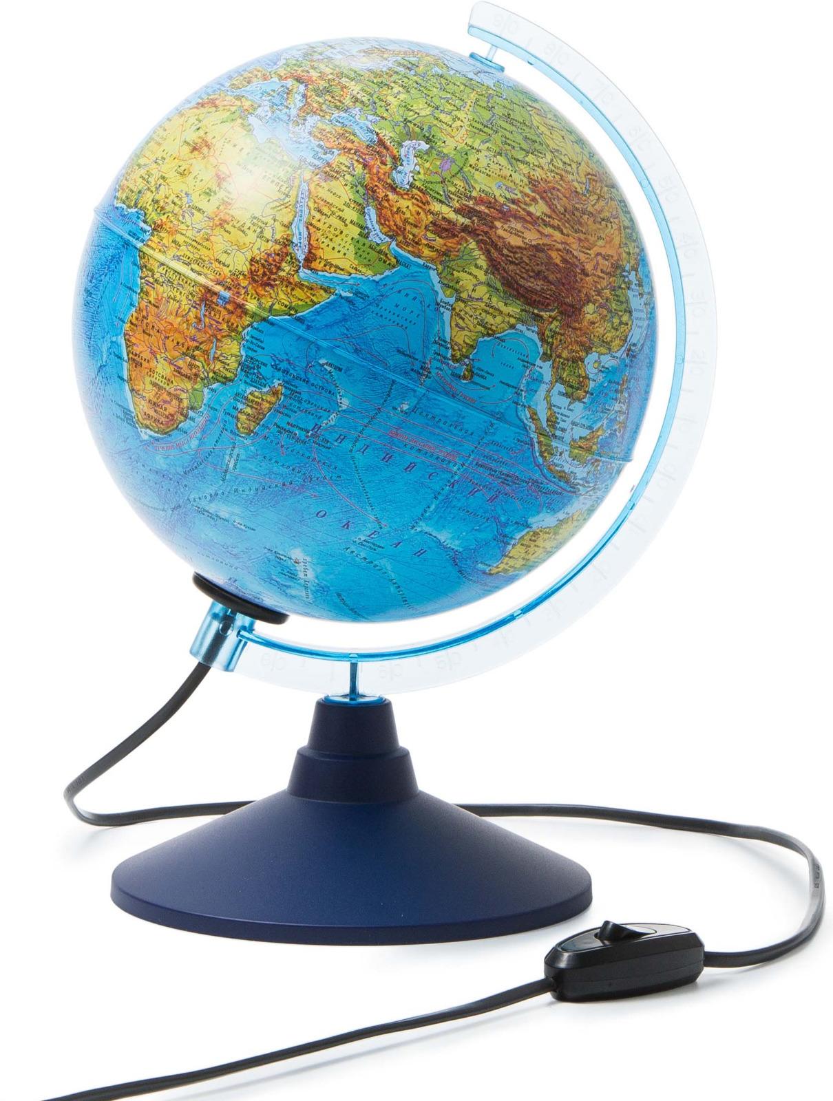 Globen Глобус Земли физико-политический с подсветкой диаметр 210 мм Ке012100181 globen глобус земли globen физико политический с подсветкой 320мм