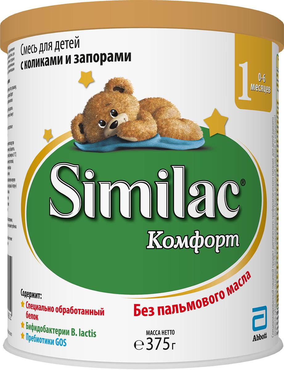 Similac Комфорт 1 смесь с 0 месяцев, 375 г20027657Детская сухая смесь на основе частично гидролизованных белков молочной сыворотки для вскармливания детей с рождения с функциональными нарушениями пищеварения. Детская смесь Similac Комфорт 1 специально разработана для детей с коликами, запорами и повышенным газообразованием. Система защиты животика Специально разработанный состав без пальмового масла для формирования мягкого стула, подобного стулу детей на грудном вскармливании, и снижения частоты запоров. Пробиотики – живые бифидо-бактерии B.lactis (BL) и пребиотики ГОС помогают формированию здоровой микрофлоры кишечника. Частично гидролизованный сывороточный белок легко переваривается. Низкое содержание лактозы способствует уменьшению газообразования Каким детям рекомендовать Similac Комфорт 1? С запорами С коликами С газообразованием