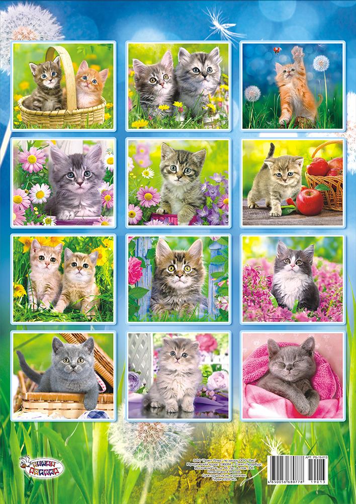 Календарь настенный на 2019 год (на ригеле). Забавные котята Большой перекидной настенный...