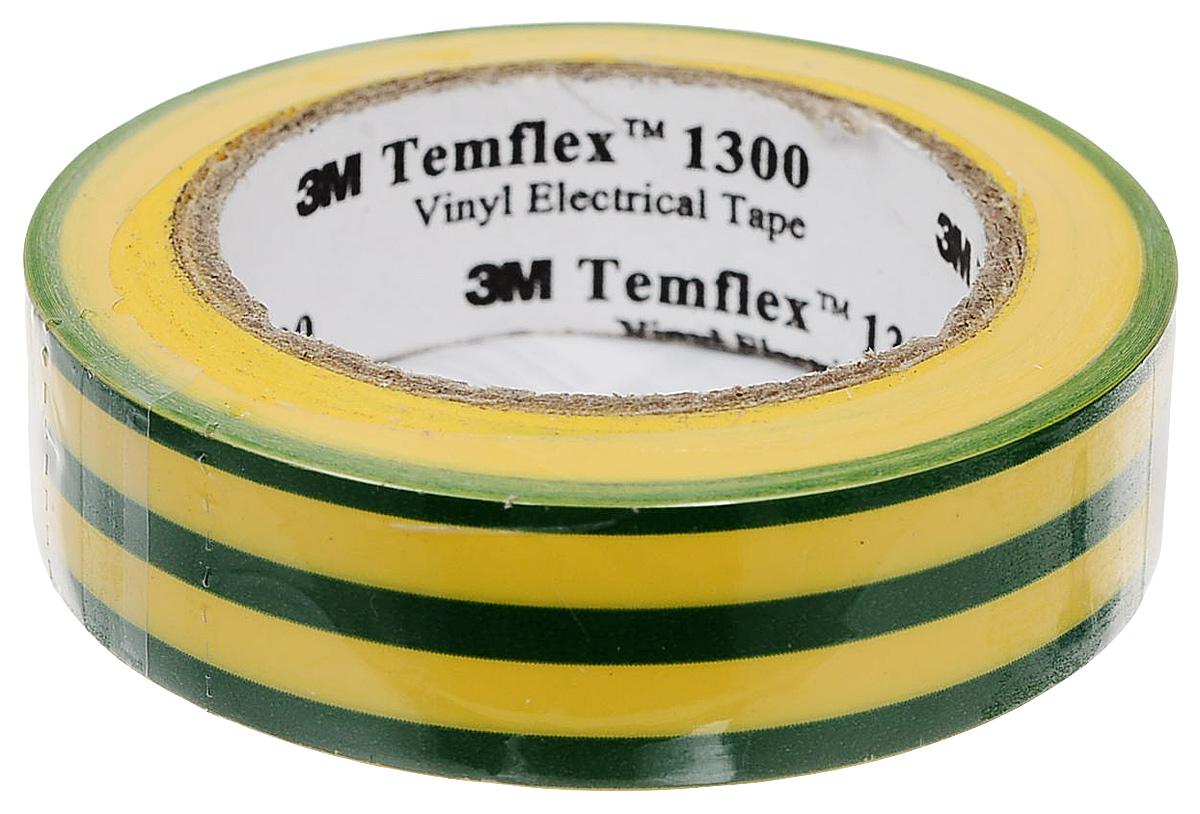Изолента Temflex, ПВХ, 15 мм, 1300, цвет: желтый, зеленый. (рулон 10 м). 3М 7000062615/7100081324 эра c0036559 пвх изолента 15ммх10м желто зеленая