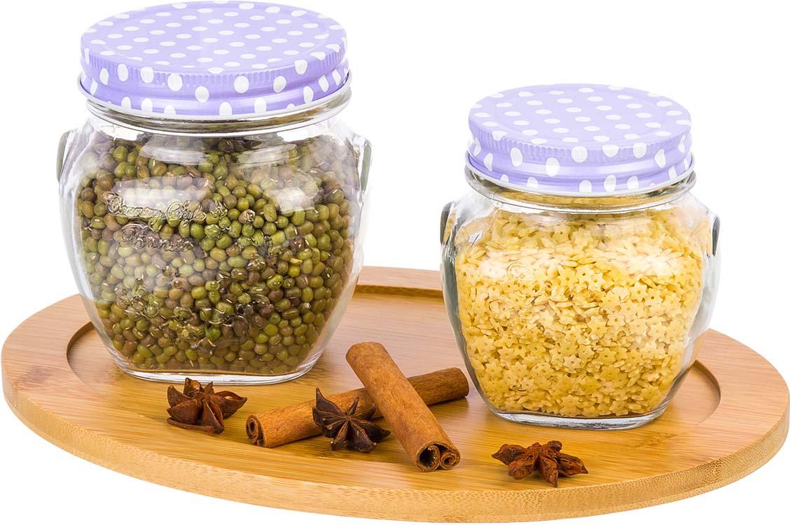 Фото - Банка для сыпучих продуктов Elan Gallery Горошки на сиреневом, 2 шт набор банок для хранения elan gallery гортензия с ложками и крышками на подставке 7 предметов
