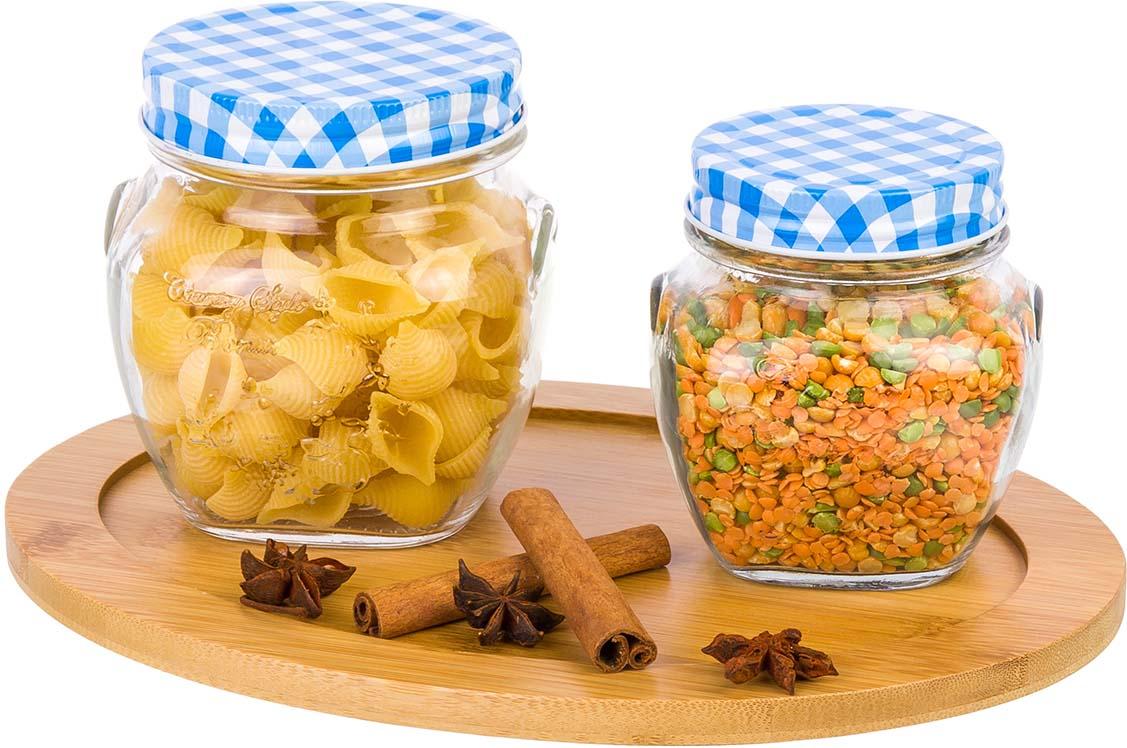 Фото - Банка для сыпучих продуктов Elan Gallery Синяя клетка, 2 шт набор банок для хранения elan gallery гортензия с ложками и крышками на подставке 7 предметов
