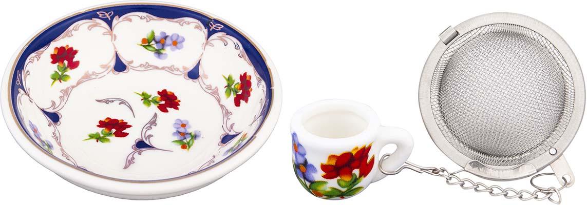 Набор для заваривания чая Elan Gallery Цветочек, цвет: белый, синий, красный, 2 предмета740459Набор для заваривания чая из ситечка и подставки, с нежным рисунком придется по вкусу любой хозяйке. Приятный и полезный аксессуар на Вашей кухне.