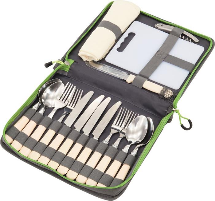 Туристический набор столовых приборов Outwell Picnic Cutlery, цвет: серый металлик, белый, 19 предметов. 650667