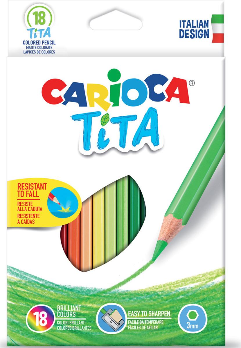 Набор цветных карандашей Carioca Tita, пластиковые, 18 цветов carioca набор крупных цветных карандашей tita maxi 6 цветов
