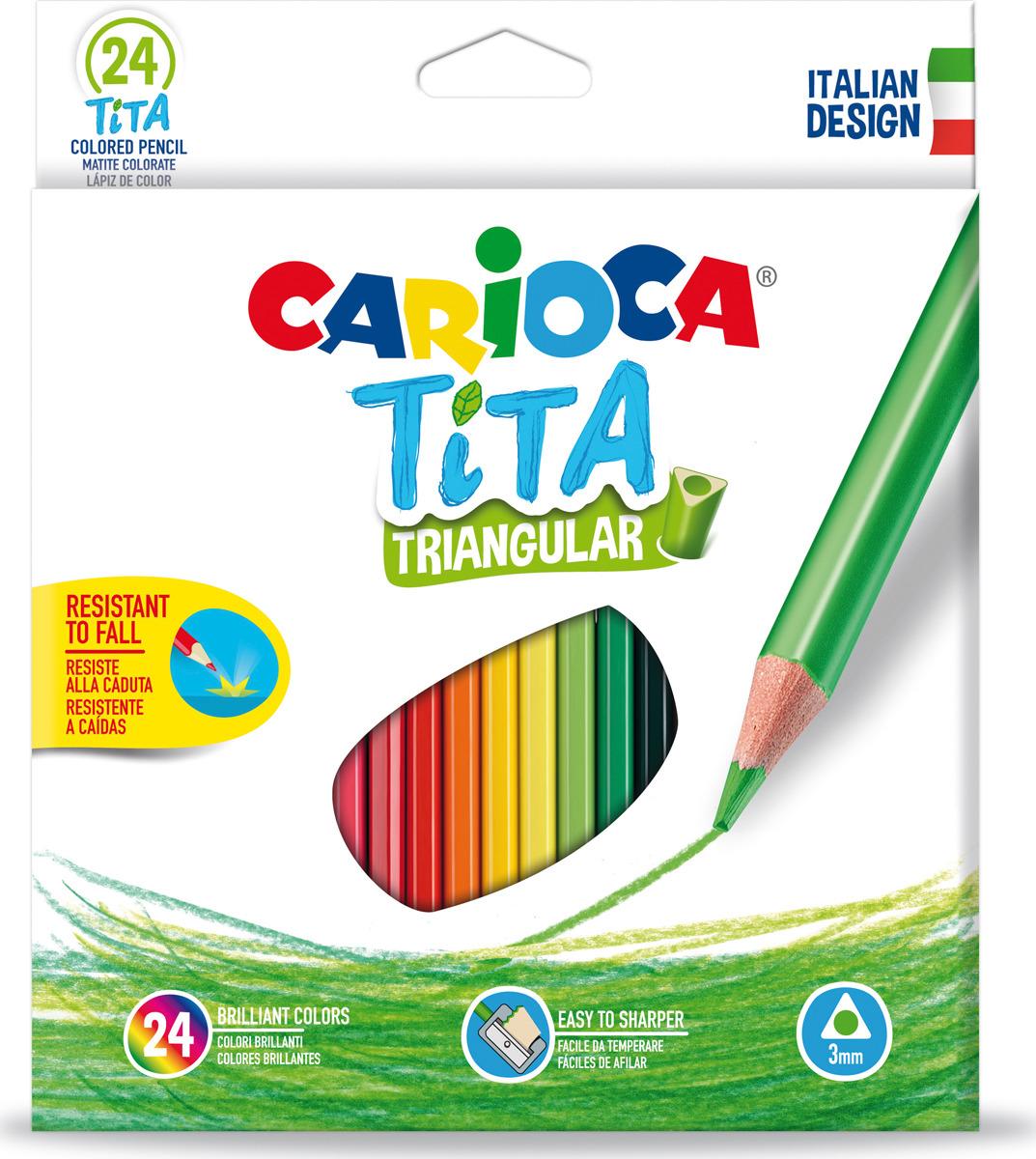 Набор цветных карандашей Carioca Tita, пластиковые, с европодвесом, 24 цвета carioca набор крупных пластиковых мелков plastello maxi 12 цветов
