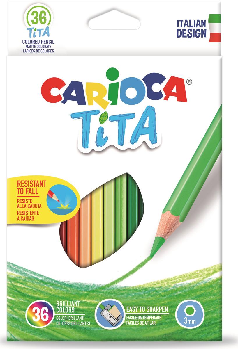 Набор цветных карандашей Carioca Tita, пластиковые, с европодвесом, 36 цветов набор цветных карандашей carioca tita пластиковые с европодвесом 24 цвета