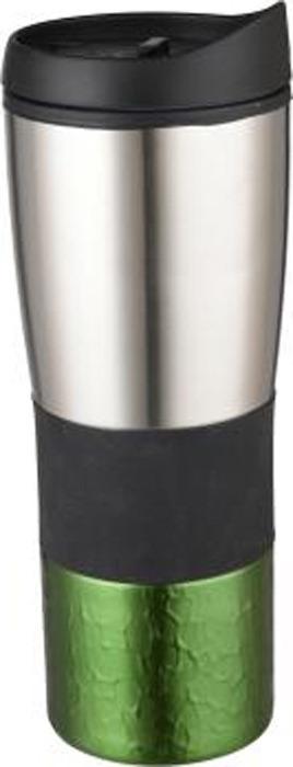 Термокружка Bekker Fancy, цвет: зеленый, серебристый, 0,45 л. BK-4354