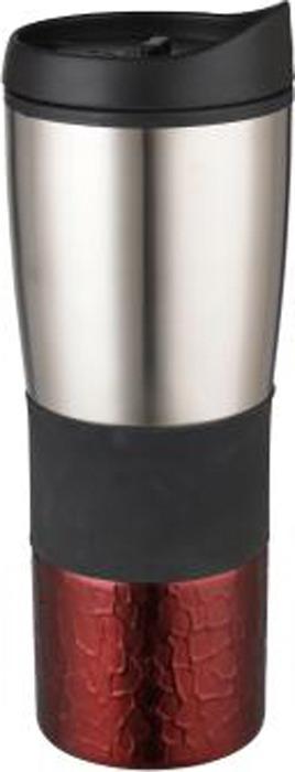 Термокружка Bekker Fancy, цвет: бордовый, серебристый, 0,45 л. BK-4355
