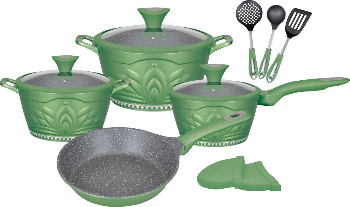 Набор посуды Winner Green Princess с антипригарныи покрытием под мрамор, 12 предметов. WR-1304WR-1304Набор посуды из 12 предметов. Кастрюля 2,4 л с крышкой d-20см, кастрюля 4,0 л. с крышкой d-24см, сковорода d-24cм, ковш 1,5 л с крышкой d-18см. Толщина стенок -2,3мм, дна- 4,5мм. Внутри антипригарное серое мраморное покрытие, снаружи жаростойкое цветное лаковое покрытие. Ручки кастрюль из литого алюминия, ручки крышек, сковороды и ковша бакелит. с покрытием Soft Touch. Стеклянные крышки с силикон. ободком. Набор силикон, прихваток, половник, шумовка, лопатка, ручки бакелит. с покрытием Soft Touch. Подходит для индукц.плит и чистки в посудомоечной машине. Состав: литой алюминий, нейлон.