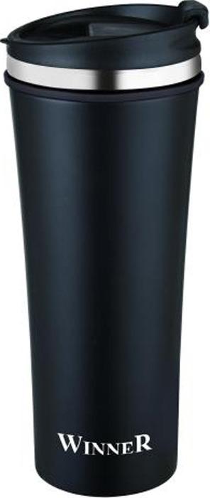 Термокружка Winner Black Classic, цвет: черный, 0,42 л. WR-8204