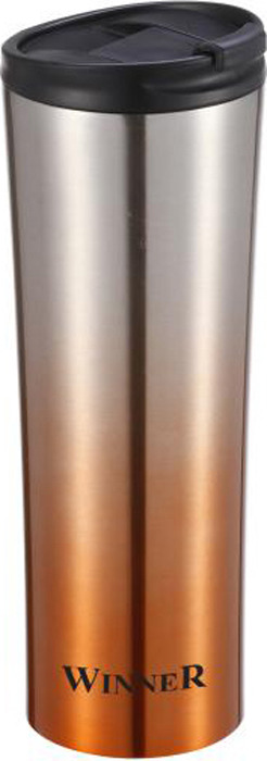 Термокружка Winner, цвет: золотистый, серебристый, черный, 0,45 л. WR-8206