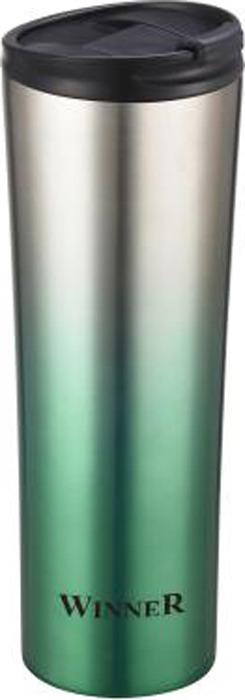 Термокружка Winner, цвет: черный, серебристый, зеленый, 0,45 л. WR-8207