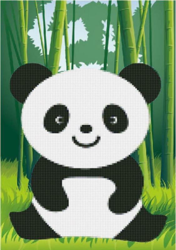 """Набор для изготовления картины со стразами Цветной """"Алмазная мозаика. Веселая панда"""", 22 х 17 см"""