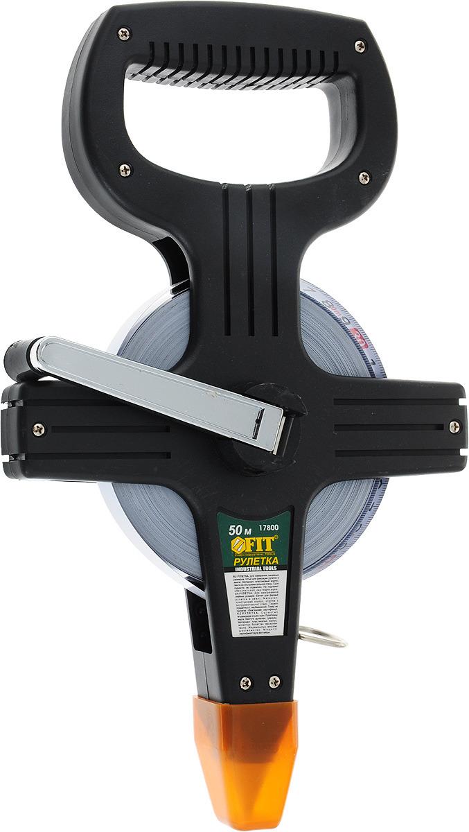 Рулетка землемерная FIT, стальная лента, 50 м цена