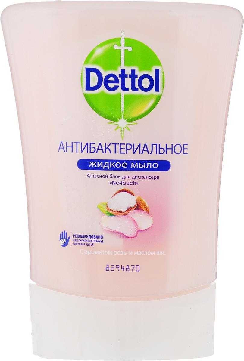 """Запасной блок жидкого мыла """"Dettol"""", с ароматом розы и маслом ши, 250 мл"""
