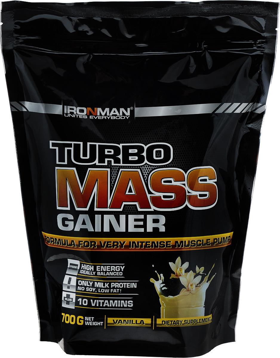 Гейнер Ironman Турбо Масс, ваниль, 700 г4650069820109Гейнер Ironman Турбо Масс - это базовый гейнер для наращивания мышечной массы. Белковая матрица основана исключительно на молочном и сывороточном белках и не содержит сои. Дополнительно продукт усилен 10 витаминами. В состав гейнера входят: - концентрат сывороточного белка Armor Proteines S.A.S., Франция, - концентрат молочного белка Murray Goulburn Co, Австралия, - мальтодекстрин, - натуральный или идентичный натуральному ароматизатор Rudolf Wild GmbH, Германия, - смесь витаминов фирмы Doehler GmbH, Германия, - загуститель Texogum фирмы Nexira, Франция, - сахароза, - какао, Германия.Уважаемые клиенты!Обращаем ваше внимание на то, что упаковка может иметь несколько видов дизайна. Поставка осуществляется в зависимости от наличия на складе.