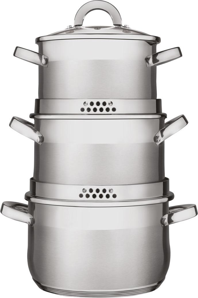 Набор посуды для приготовления пищи Verloni Сицилия, 6 предметовVL - ST4I6S96Набор кастрюль Verloni Сицилия уникального дизайна в форме big belly shape выполнен из хромоникелевой нержавеющей стали. В наборе 3 кастрюли. Каждая кастрюля имеет 2 сливных носика и крышки с отверстиями для слива жидкости (эффект дуршлага). Крышки из жаропрочного стекла и нержавеющей стали с отверстиями для выхода пара.Металлические ручки с креплением болтами гарантируют надежность крепления.Внутренняя зеркальная и внешняя зеркально-матовая полировка.Индукционное многослойное капсульное термоаккумулирующее дно с алюминиевым вкладышем, которое быстро и равномерно накапливает тепло и также равномерно передает его пище.Объем кастрюль: 2,9 л; 3,9 л; 5,1 л.Диаметр крышек:18 см; 20 см; 22 см.
