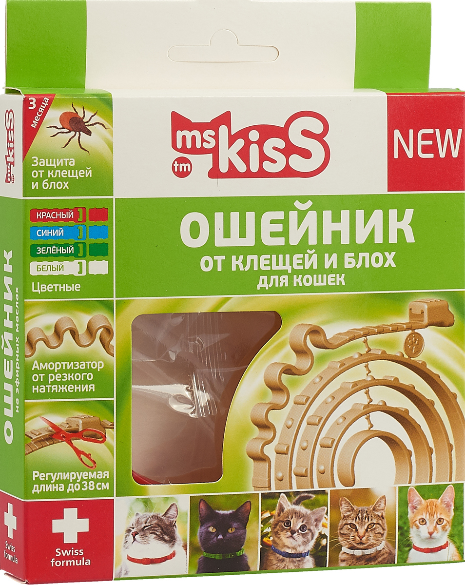 Ошейник для кошек Ms. Kiss, репеллентный, цвет: красный, длина 38 см ошейник для кошек ms kiss репеллентный цвет зеленый длина 38 см
