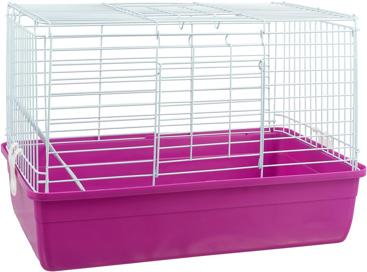 Клетка для кроликов Triol, цвет: фуксия, 59 см х 40 см х 36 см коробка подарочная veld co giftbox трансформер фуксия цвет фуксия 17 5 х 17 5 х 17 см