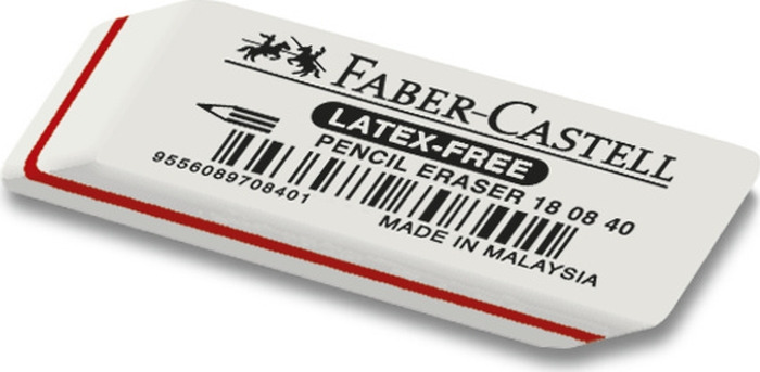 Ластик Faber-Castell Latex-Free 7008-40, цвет: белый, 2 шт faber castell чернографитовый карандаш triangular цвет корпуса черный белый мотив корова 3 шт ластик в блистере