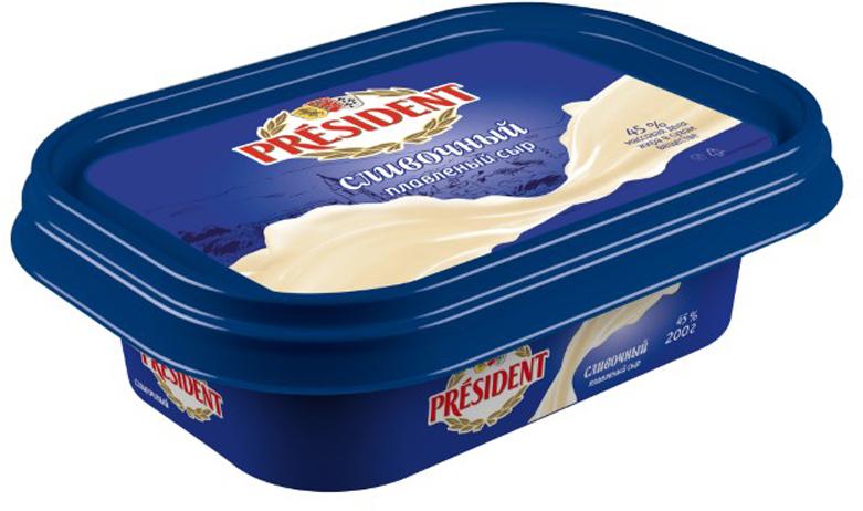 President Сыр Сливочный плавленый 45%, 200 г president сыр с пряными травами плавленый 45% 200 г