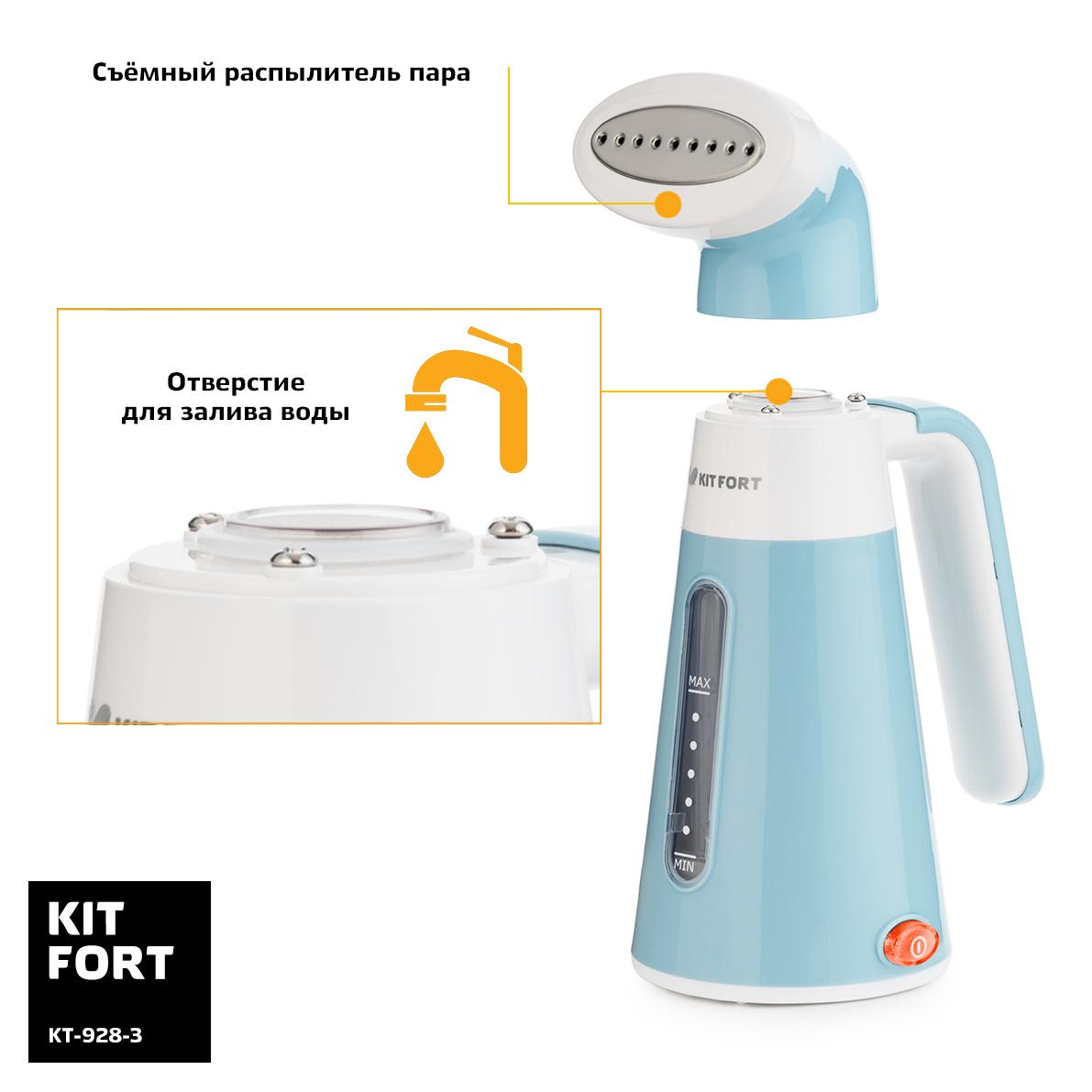 Отпариватель ручной Kitfort КТ-928-3, цвет: бирюзовый Kitfort