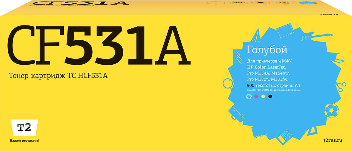 Картридж T2 TC-HCF531A, голубой, для лазерного принтера картридж t2 tc s406c голубой