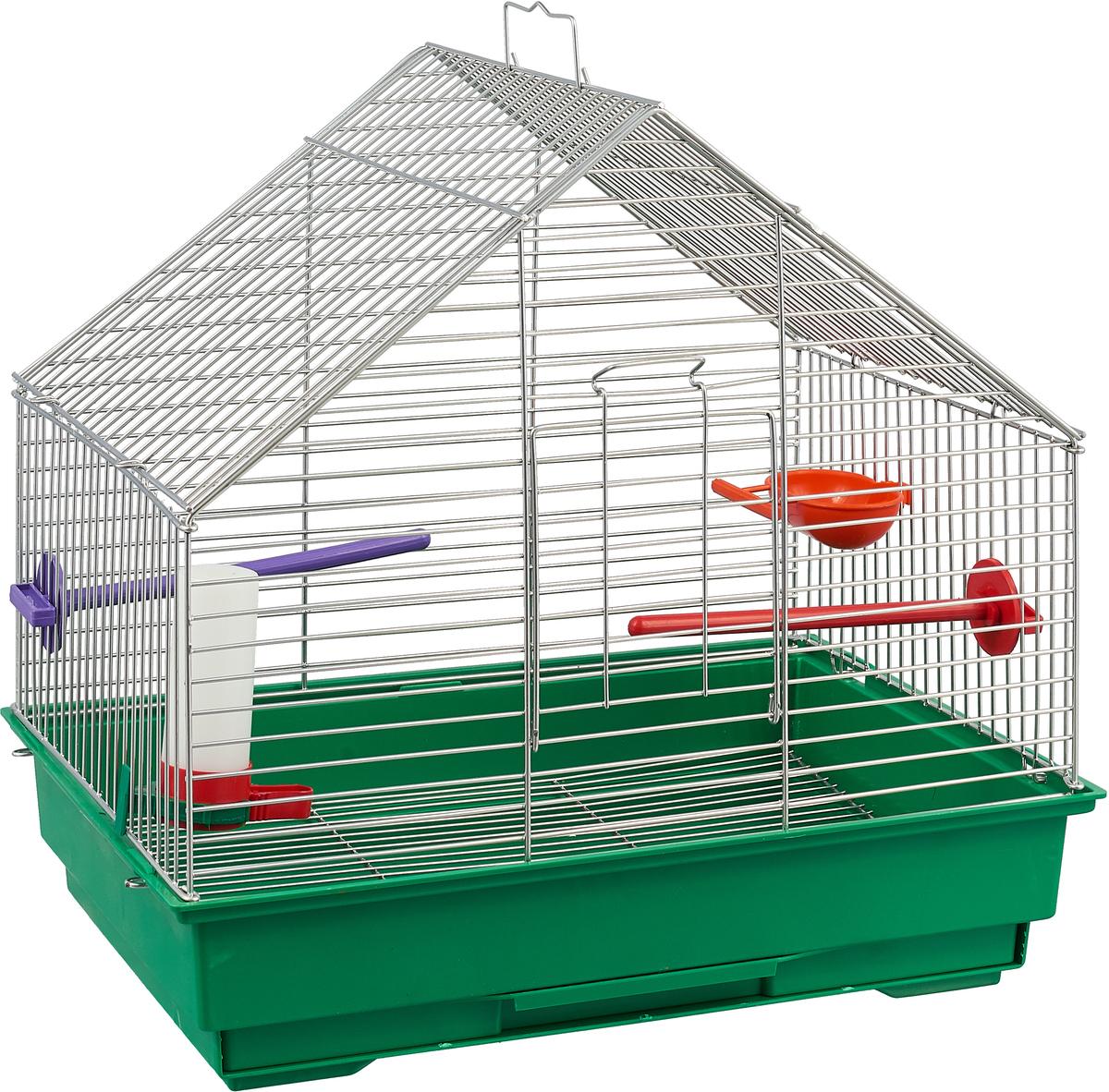 Клетка для птиц Велес Lusy Fly, разборная, цвет: зеленый, 30 х 42 х 40 см клетка для грызунов велес с полками цвет серый 40 х 58 х 45 см