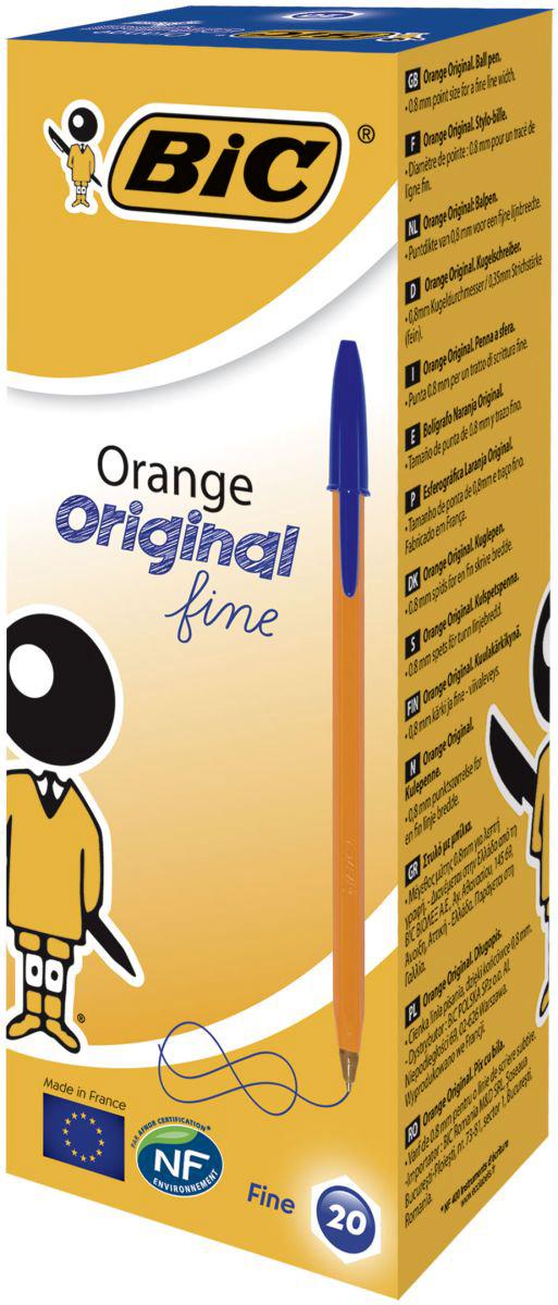 Набор шариковых ручек Bic Orange Fine, цвет чернил: синий, 20 шт