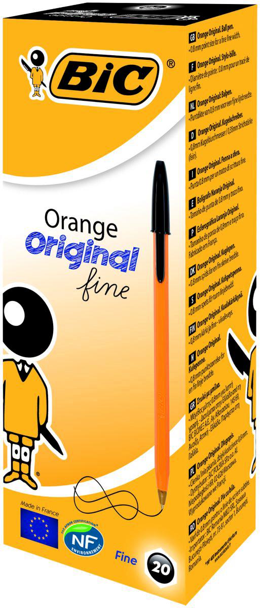 Набор шариковых ручек Bic Orange Fine, цвет чернил: черный, 20 шт