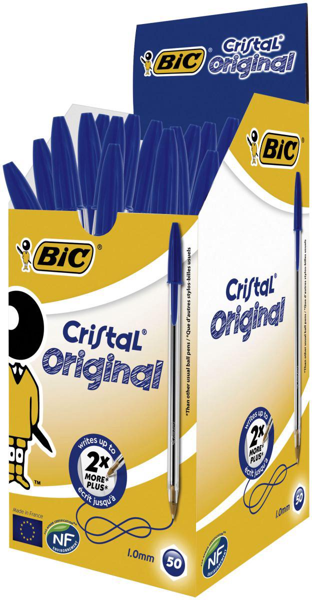 Набор шариковых ручек Bic Cristal M, цвет чернил: синий, 50 шт