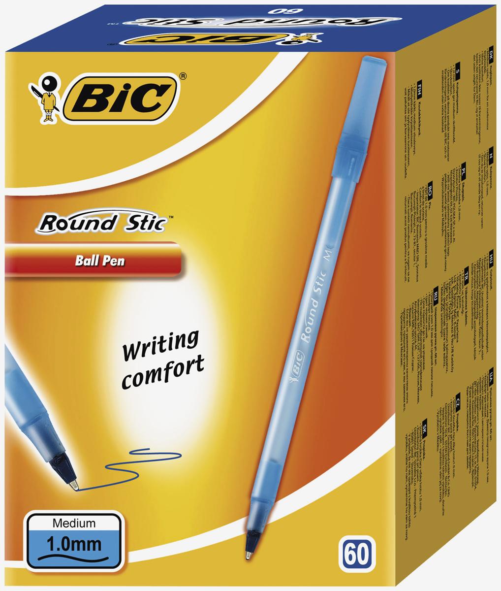Набор шариковых ручек Bic Round Stick, цвет чернил: синий, 60 шт