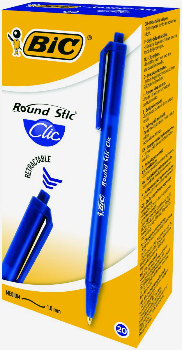 Набор шариковых ручек Bic Round Stic Clic, цвет чернил: синий, 20 шт