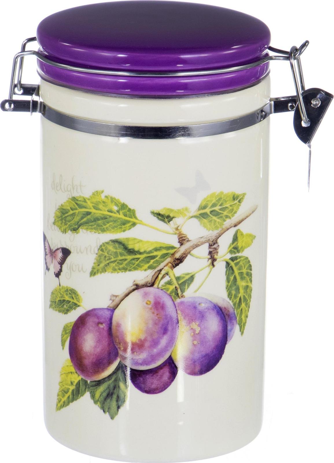 Банка для сыпучих продуктов Elrington Слива, с клипсой, цвет: фиолетовый, 1 л банка для сыпучих продуктоврозовый сад 12 12 19см 1000мл уп 1 32шт