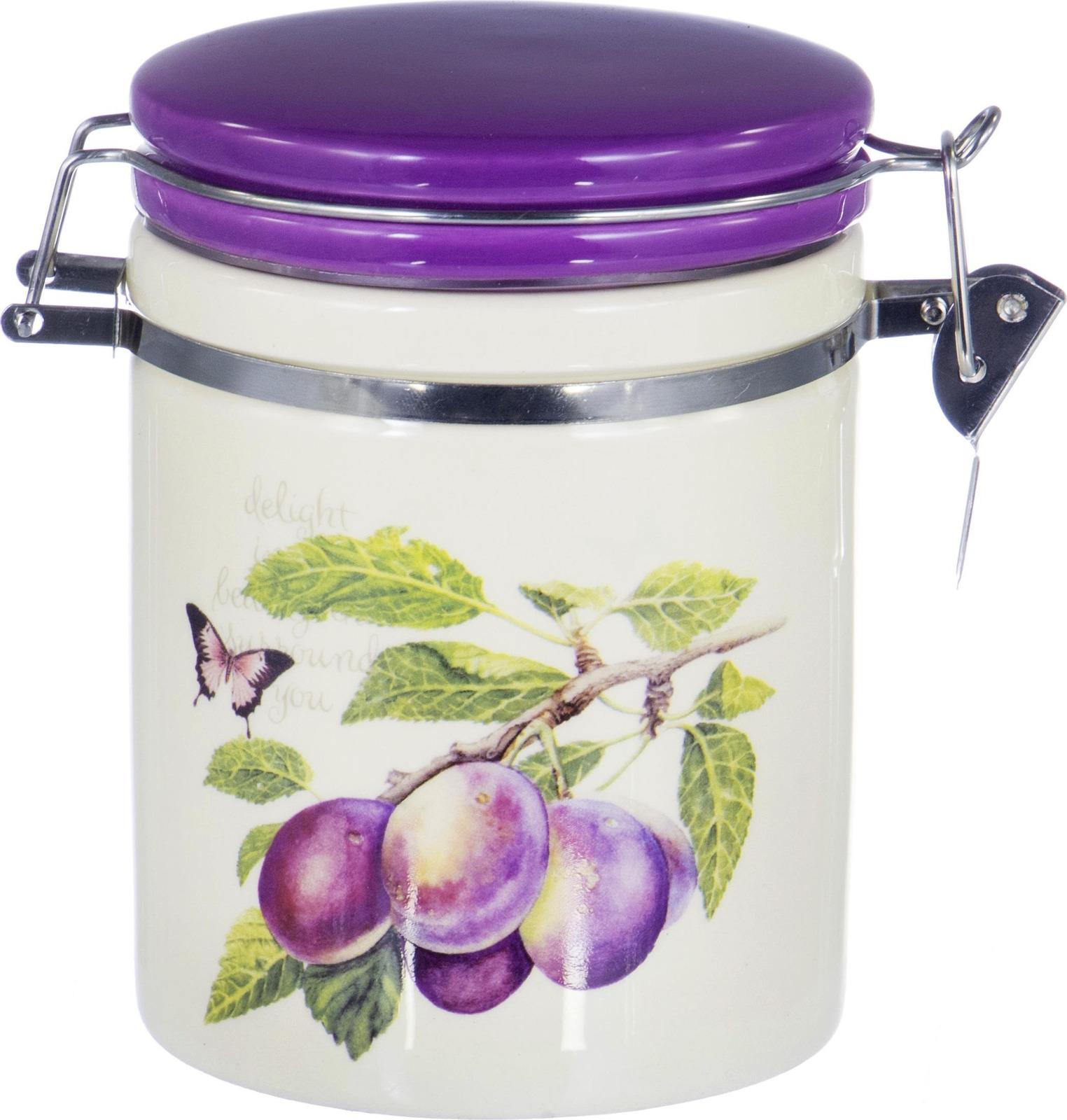 Банка для сыпучих продуктов Elrington Слива,  клипсой, цвет: фиолетовый, 730 мл