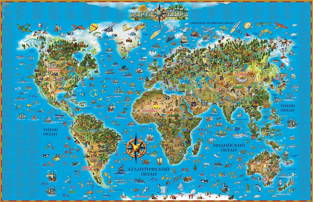 Карта. Карта Мира (для детей) в картонном тубусе карта карта мира для детей в картонном тубусе
