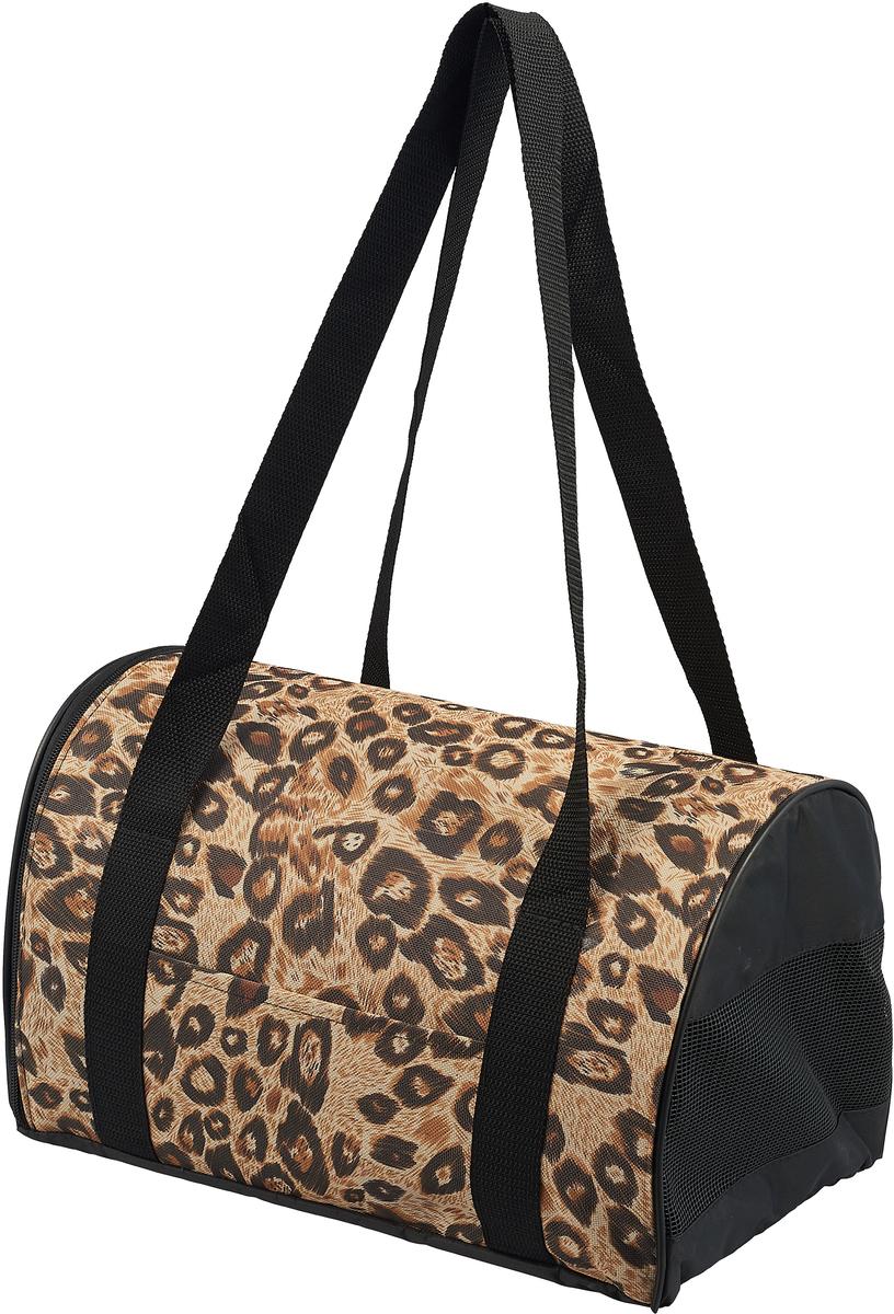 Сумка-переноска для животных Теремок, цвет: леопард, 34 х 22 х 21 см сумка переноска для животных pets inn цвет черный