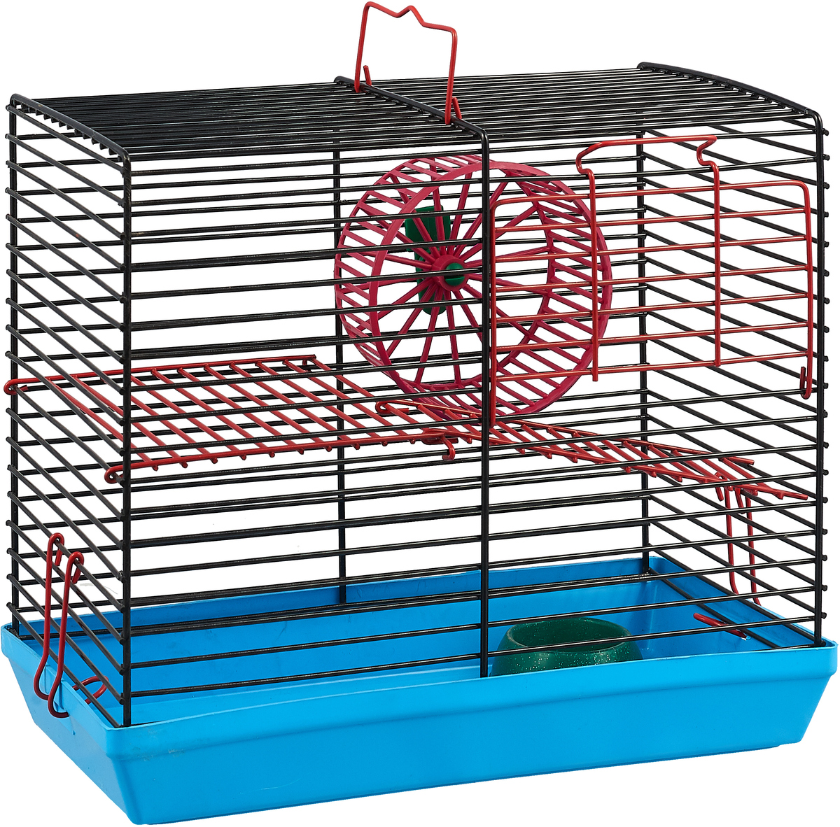 """Клетка для джунгариков """"Велес"""", двухэтажная, с колесом и миской, цвет: голубой поддон, черная решетка"""