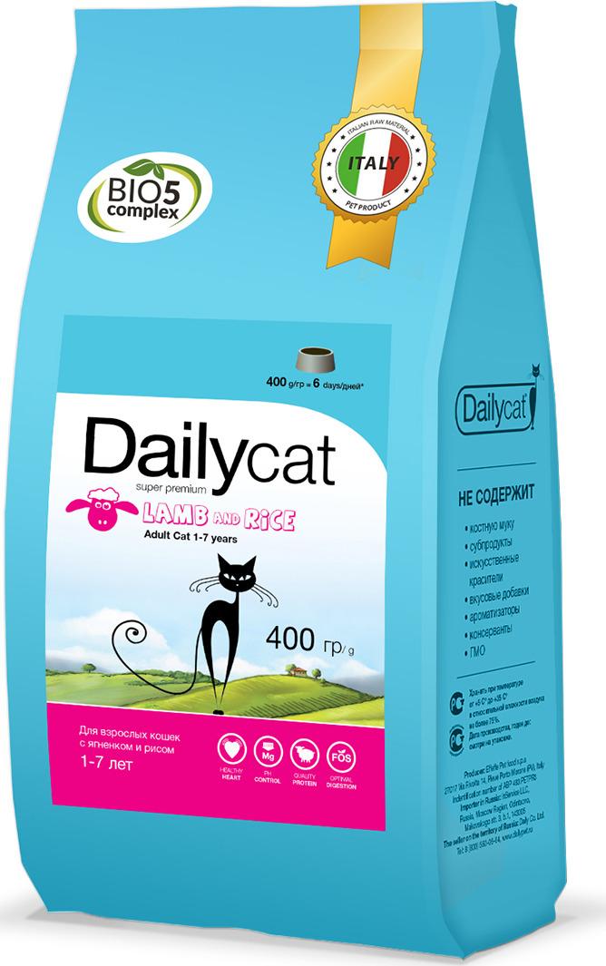 """Корм сухой Daily Cat """"Adult Lamb & Rice"""", для взрослых кошек, с ягненком и рисом, 400 г"""