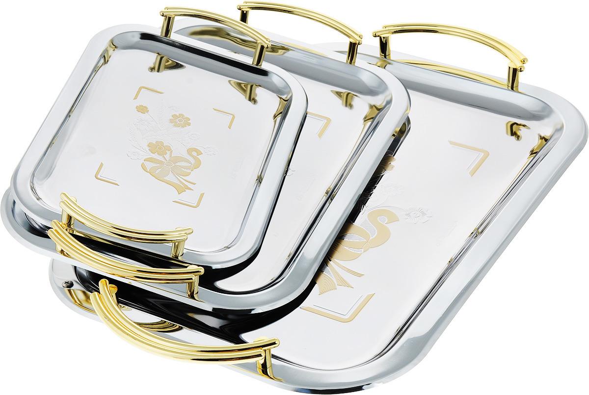 Набор подносов Bohmann Букет, цвет: серый металлик, золотой, 3 предмета набор керамических ножей bohmann цвет черный 3 предмета 5204bh
