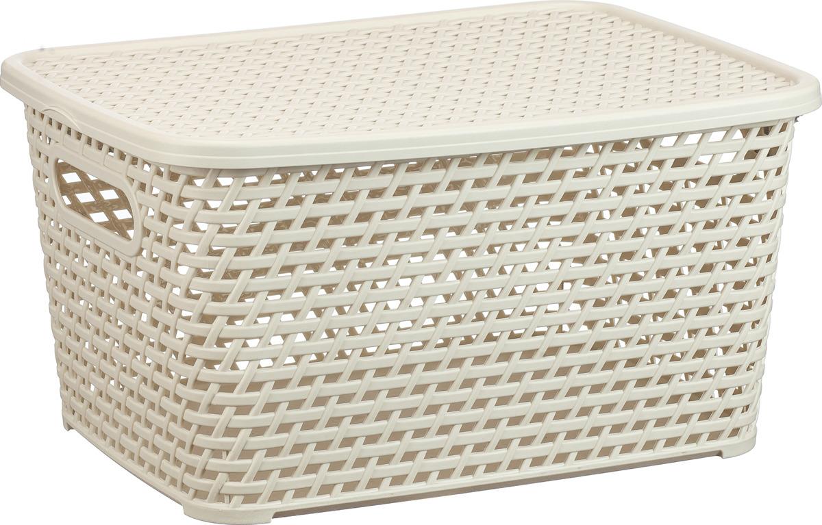 Ящик для хранения Idea Ротанг, с крышкой, цвет: белый ротанг, 23 л ящик пластиковый ротанг 46 л