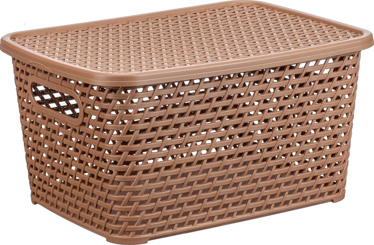 Ящик для хранения Idea Ротанг, с крышкой, цвет: бежевый ротанг, 23 л ящик пластиковый ротанг 46 л