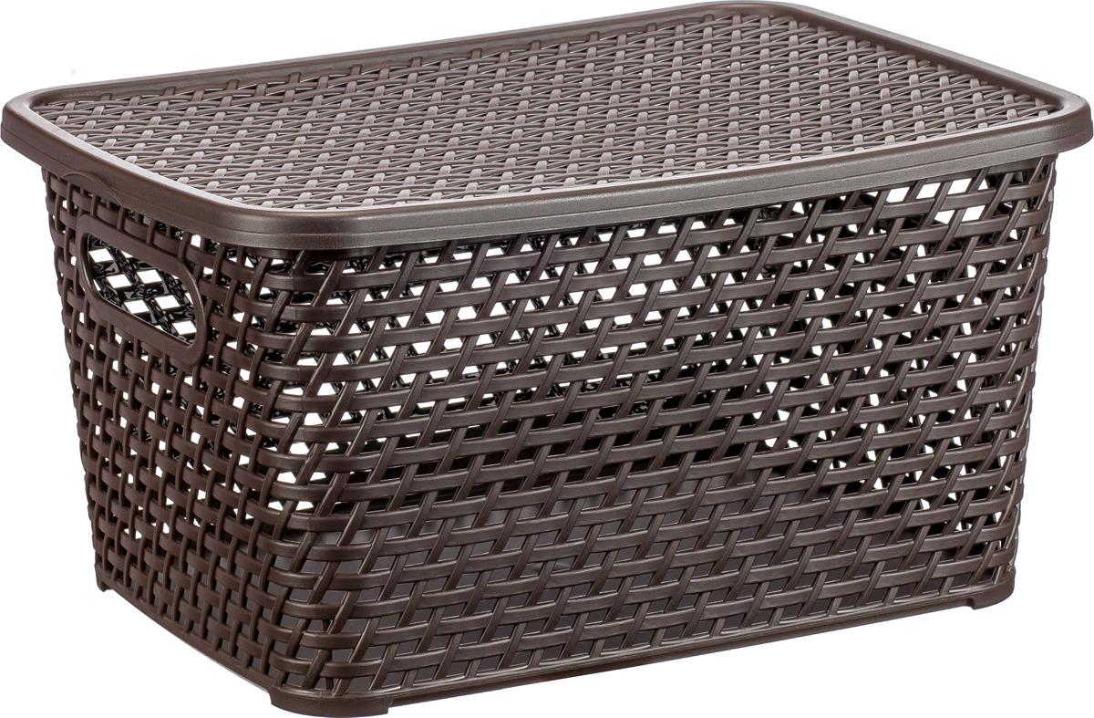 Ящик для хранения Idea Ротанг, с крышкой, цвет: коричневый ротанг, 23 л ящик пластиковый ротанг 46 л