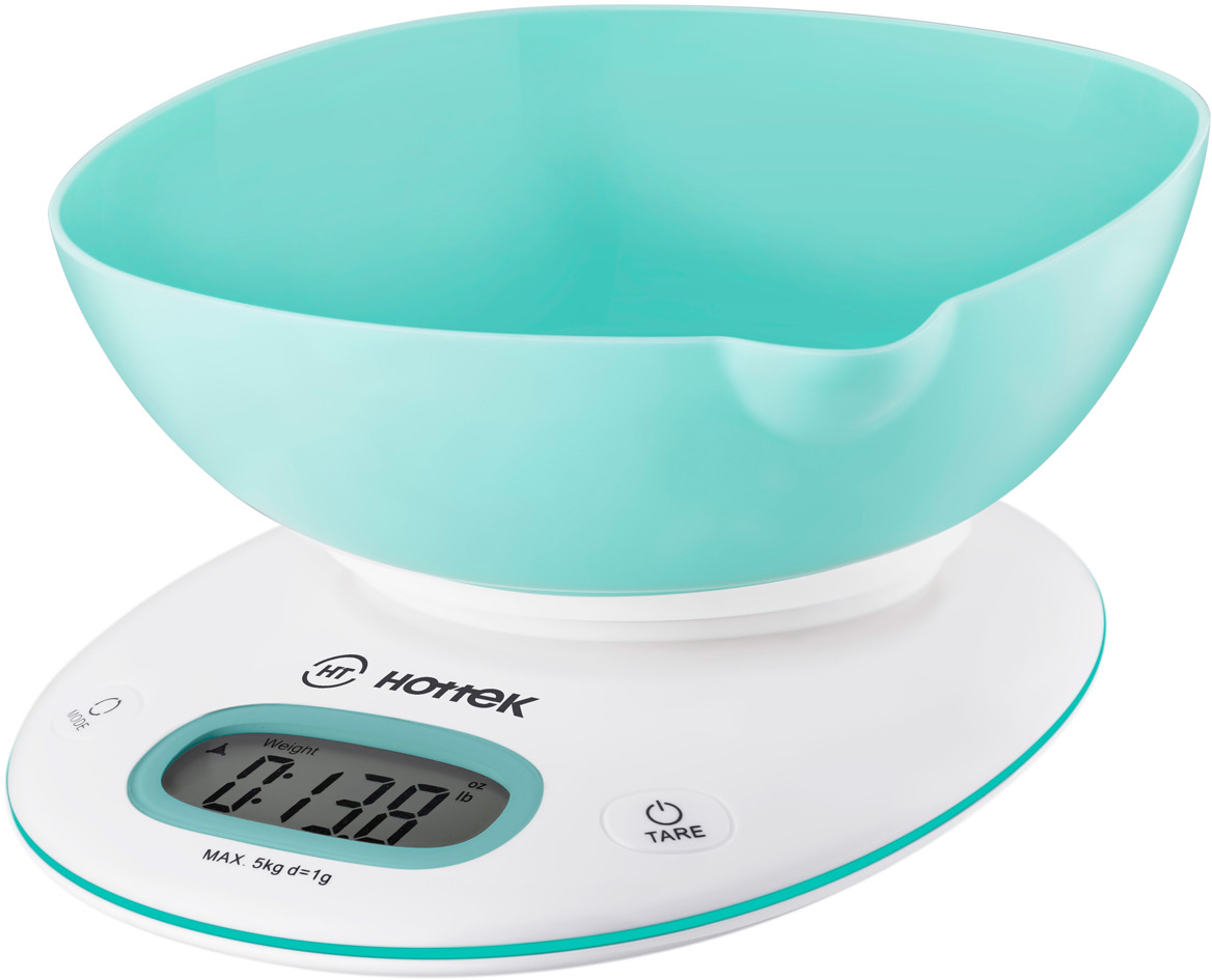 Кухонные весы Hottek ht-962-028, с чашей, цвет голубой кухонные весы hitt ht 6127